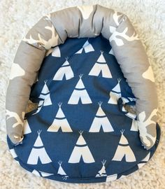 Navy Tee Pee Infant Head Support Car Seat Head by ShopRitzyBaby