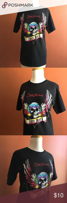 "BRET MICHAELS Pets Rock Short Sleeve T-Shirt S BRET MICHAELS Pets Rock Short Sleeve T-Shirt S - Unisex - Cool  Skul and colorful rainbow palette. FINAL PRICE. NO OFFERS PLS. Approx: Chest 18"" Length 26"" Sleeve 8"" Bret Michaels Tops Tees - Short Sleeve"