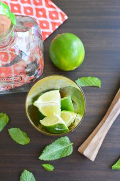 Limes and mint for the perfect mojito.  This one with Patron tequila!  // www.cupcakesandcutlery.com