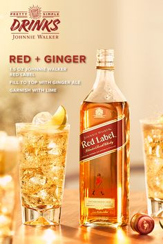 Give your holiday guests the red-carpet treatment with a classic whisky ginger ale. Head to your local store for Johnnie Walker Red Label and a few simple cocktail ingredients. Start by adding oz of Johnnie Walker Red Label to a glass and fill to the Whiskey Recipes, Drinks Alcohol Recipes, Liquor Drinks, Alcoholic Drinks, Beverages, Red Cocktails, Cocktail Drinks, Refreshing Drinks, Yummy Drinks