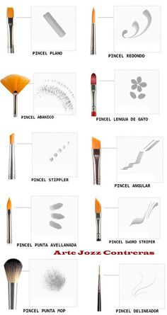 brush types and uses. Pinceles con respectivos efectos y usos.