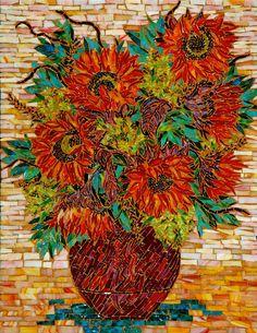Mosiac Floral ~ by Larissa Strauss Mosaic Tile Art, Mosaic Crafts, Mosaic Projects, Mosaic Glass, Mosaic Designs, Mosaic Patterns, Red Sunflowers, Vincent Van Gogh, Mosaic Flowers