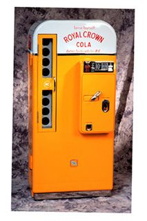 Here's a sweet Royal Crown Cola dispensing machine, which probably held small 7 oz. Actually, it looks like an old Coke machine which was repainted. Anyone know if RC actually ever had machines like this? Soda Vending Machine, Coke Machine, Vending Machines, Retro Advertising, Vintage Advertisements, Vintage Ads, Vintage Items, Rc Cola, Pepsi Cola