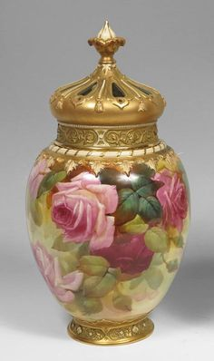 Royal Worcester pot pourri  covered vase by Walter Sedgley in Hadley Rose design