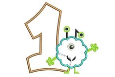 Birthday Number Applique Monster Applique With
