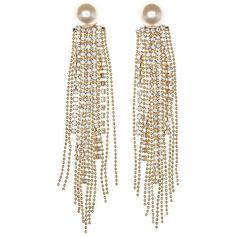 Charlotte Russe Pearl Bead and Chain Tassel Drop Earrings (11 BAM) ❤ liked on Polyvore featuring jewelry, earrings, ear rings, gold, beaded earrings, pearl jewelry, chain dangle earrings, white pearl earrings et chain earrings