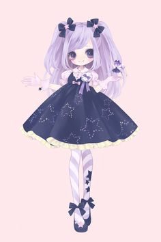 ✮ ANIME ART ✮ sweet lolita. . .star print dress. . .lace. . .striped socks. . .hair ribbons. . .lavender hair. . .twin tails. . .cute. . .kawaii