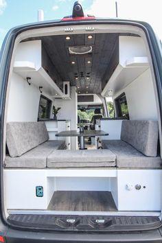 Logan Van conversion, modern and minimalist interior design Van Conversion Interior, Camper Van Conversion Diy, Van Interior, Motorhome Interior, Motorhome Conversions, Van Conversion Bed Ideas, Room Interior, Van Conversion Layout, Car Interior Design