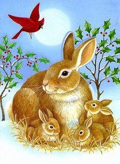 Bunnies and Cardinal ~ Stephanie Stouffer