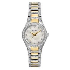 Ladies' Bulova Crystal Watch with Mother-of-Pearl Dial