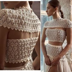 Crochet blouse off wbite Paris Chic, Lehenga Designs, Saree Blouse Designs, Indian Dresses, Indian Outfits, Couture Dresses, Fashion Dresses, Fancy Blouse Designs, Indian Designer Wear