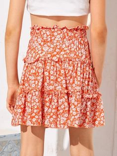 Girls Frill Trim Daisy Floral Skirt – Kidenhouse Orange Pattern, No Frills, Midi Skirt, Daisy, Girl Skirts, Layers, Boho, Floral, High Waist