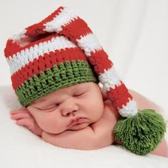 1a708381ab265b Christmas Red and Green Striped Elf Knit Newborn Stocking Cap - Christmas  Baby Hat