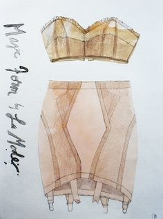Valerie Santillo, Vintage Lingerie Collection, La Mode, Fashion Illustration