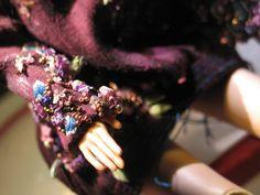 hand embroidered doll dress Mauve, Sequins, Gold Work, Porcelain, Hands, Silk Ribbon, Violet, Dolls, Dyed Silk