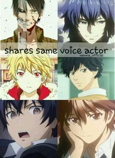 This voice actor is sure amazing  . Eren (attack on titan)  Ayato (tokyo ghoul) Yukine (noragami)  Kou (ao haru ride)  Rentaro (black bullet) Shu (guilty crown)