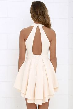 Cute Peach Dress - Skater Dress - Backless Dress - $59.00