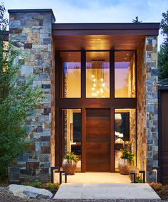 This two-home property—a contemporary main home and rustic luxury cabin—are the last to be located this close to the river. cabin home, A Mountain Modern Estate on Roaring Fork Riverfront Entrance Design, Front Door Design, House Entrance, Double Entrance Doors, Main Entrance, Modern Exterior, Exterior Design, Mountain Modern, Dream House Exterior