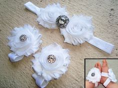 White Rhinestone Baby Barefoot Sandals Headband Set - Piggy Petals - Toe Blooms - Photo Props - Baptism - Flower Girls - Baby Shoes -Newborn