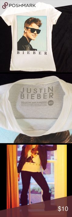 JUSTIN BIEBER Fashion T Shirt Super cute Justin Bieber fashion t shirt. This shirt is white with no stains or flaws. Tops Tees - Short Sleeve