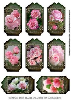 Floral Tags Pink Roses on Craftsuprint designed by Aisne Smith - A sheet of 8 tags. Great for use as gift tags or in projects such as collage, ATC, altered art, card making etc. - Now available for download!