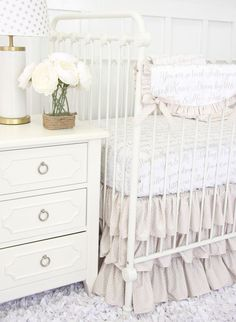Love Letters crib bedding set - This is a fun and classic baby bedding that can work with almost any nursery design!