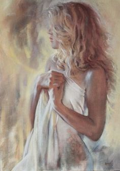"Artist Pauline Adair; Painting, ""'Amy'"""