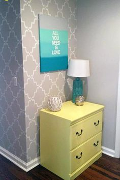 Loving the soft creamy gray Moorish Trellis Wall Stencil with the turquoise and yellow accents! Project by Gabbi Zaccheria.
