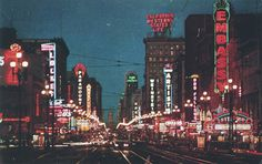 This is what mid-Market Street looked like in 1950, in its heyday, as San Francisco's cinema row.