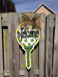 Golf burlap door hanger  by BurlapHappy on Etsy, $40.00