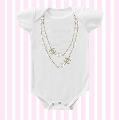 Chanel Inspired Necklace Baby Girl Onesie by by Simplybabyshop, $14.95