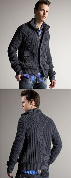 Мужской жакет с косами от Cavalli. Aran Knitting Patterns, Knitting Designs, Yarn Monsters, Knit Jacket, Knit Cardigan, Crochet Men, Knitting Socks, Pulls, Knitwear