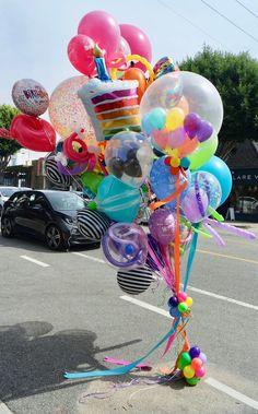 World's Best Bouquets — World's Best Balloons Girl First Birthday, Birthday Fun, Birthday Parties, Balloon Shop, Love Balloon, Big Balloons, Birthday Balloon Decorations, Birthday Balloons, Balloon Bouquet