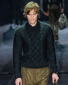 Cable knit sweaters usually look like grandpa-wear.  This one from Gucci is totally warrior.