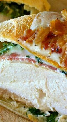 Chicken en Croute with Spinach, Spicy Salami, Swiss & Blue Cheese