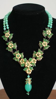 Two Strand Green Vintage Bead Gold Plated Necklace Pendant Signed Miriam Haskell