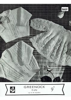Items similar to PDF Vintage Baby Knitting Pattern Matinee Lacy Yoke Cardigan Aran Cable Greenock Moss Stitch on Etsy Baby Knitting Patterns, Baby Patterns, Vintage Patterns, Crochet Patterns, Moss Stitch, Baby Cardigan, Vintage Knitting, Knit Crochet, 1960s
