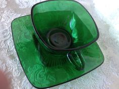 Vintage Emerald Green Glass Anchor Hocking Square Tea Cup and Saucer. $8.00, via Etsy.