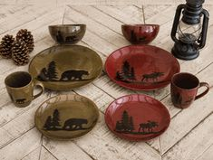 Moose and Bear Lodge Stoneware Dinnerware Collection