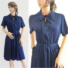Vintage Navy Blue Polka Dot Dress by OdettesVintage on Etsy