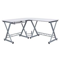 Songmics Large Corner Computer Desk White Workstation Home Office Desk Keyboard Shelf LCD402W
