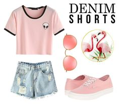 """Untitled #29"" by riley-lol101 on Polyvore featuring Chicnova Fashion, Vans, Ray-Ban, Pier 1 Imports, jeanshorts, denimshorts and cutoffs"