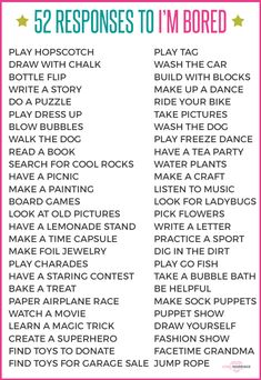 "Responses to ""I'm Bored"" What to tell your kid when she says, ""I'm bored."" Perfect list for summer activities to keep kids entertained!What to tell your kid when she says, ""I'm bored."" Perfect list for summer activities to keep kids entertained! Bored Jar, Bored Kids, Sleepover Party, Fun Sleepover Ideas, Kids And Parenting, Parenting Hacks, Parenting Styles, Peaceful Parenting, Gentle Parenting"