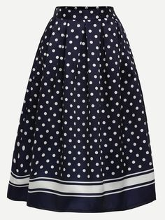 Shop Polka Dot Print Box Pleated Midi Skirt - Navy online. SheIn offers Polka Dot Print Box Pleated Midi Skirt - Navy & more to fit your fashionable needs.