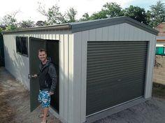 Single Garage 3.5m x 8.5m x 2.4m Genuine @colorbondsteel with 'Surfmist' walls, 'Mangrove' doors & trim #fairdinkumsheds #shedsafe #stramit #colorbondsteel  Ph 1800 10 11 12 www.fairdinkumsheds.com.au/fbenquiry