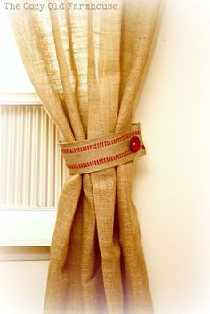 No Sew Burlap Curtains for Emma's playhouse :-)