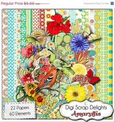 Digital Scrapbooking: Amaryllis Floral Scrapbook Kit - Buy 2 Get 1 Free Special