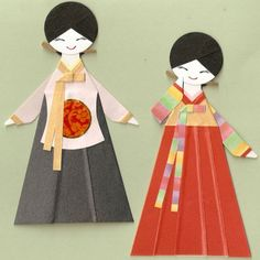 KOREAN ORIENTAL GIRL IN HANBOK AND DANGUI PAPER DOLL CARD TOPPER (SET OF 2)