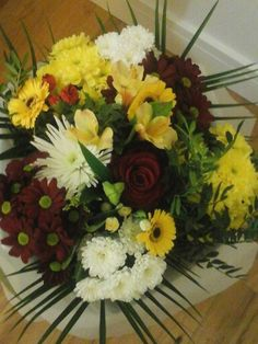 Freesias,roses and daisy bouquet. ...beautiful!