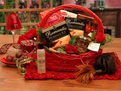 Send the magic of a spectacular massage with this exquisite romantic gift basket meant for the loving couple. This gift includes a romantic massage kit complete with oils and candles, decadent chocolates, body art, and much more. Valentine Gift Baskets, Wedding Gift Baskets, Valentine's Day Gift Baskets, Valentines Day Gifts For Her, Basket Gift, Valentines Surprise, Valentine Special, Gift Hampers, Valentine Ideas
